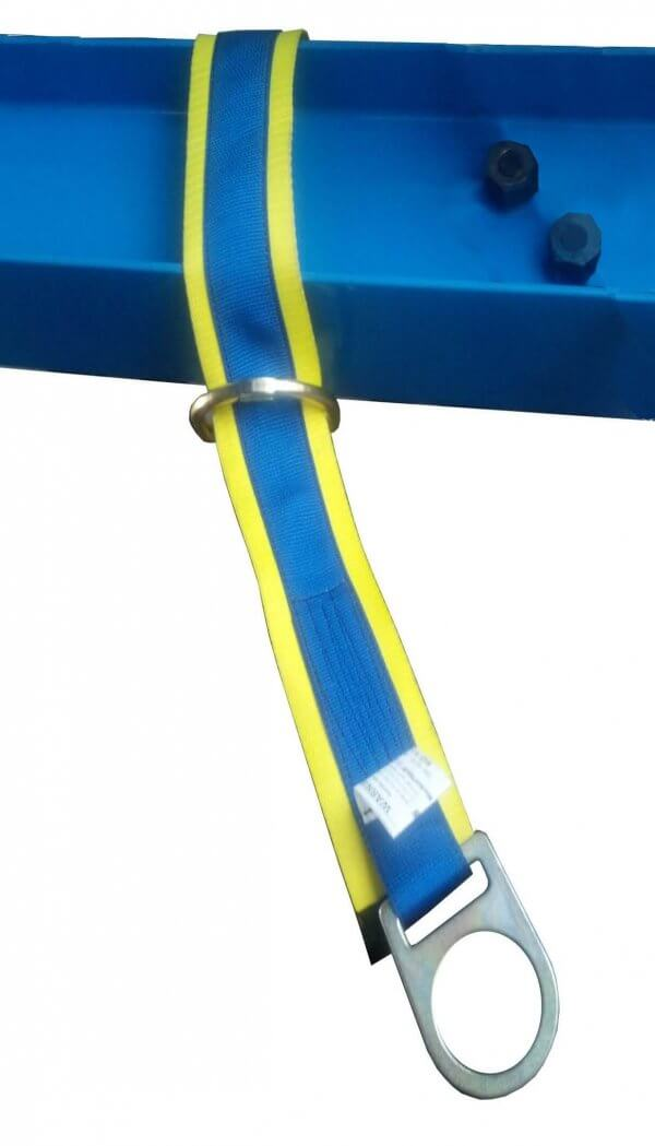 Heavy duty beam anchor strap with polyester webbing and wear strap.